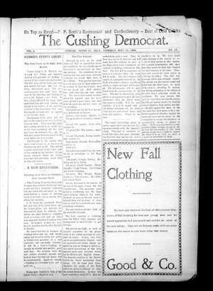 Primary view of object titled 'The Cushing Democrat. (Cushing, Okla.), Vol. 3, No. 18, Ed. 1 Thursday, September 10, 1908'.