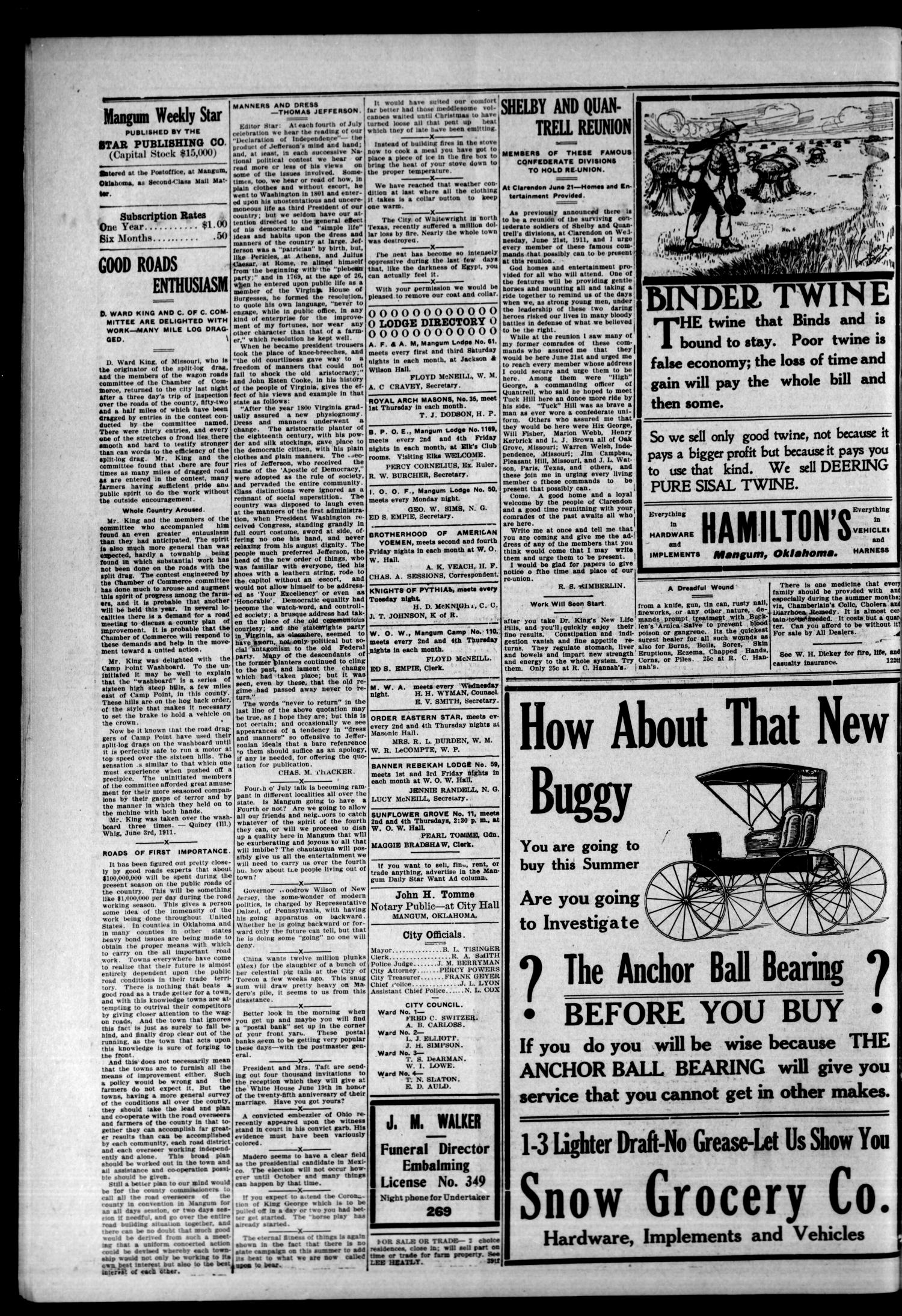 Mangum Weekly Star. (Mangum, Okla.), Vol. 23, No. 51, Ed. 1 Thursday, June 15, 1911                                                                                                      [Sequence #]: 4 of 8