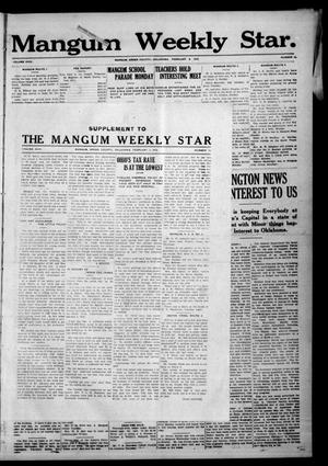 Primary view of object titled 'Mangum Weekly Star. (Mangum, Okla.), Vol. 24, No. 33, Ed. 1 Thursday, February 8, 1912'.