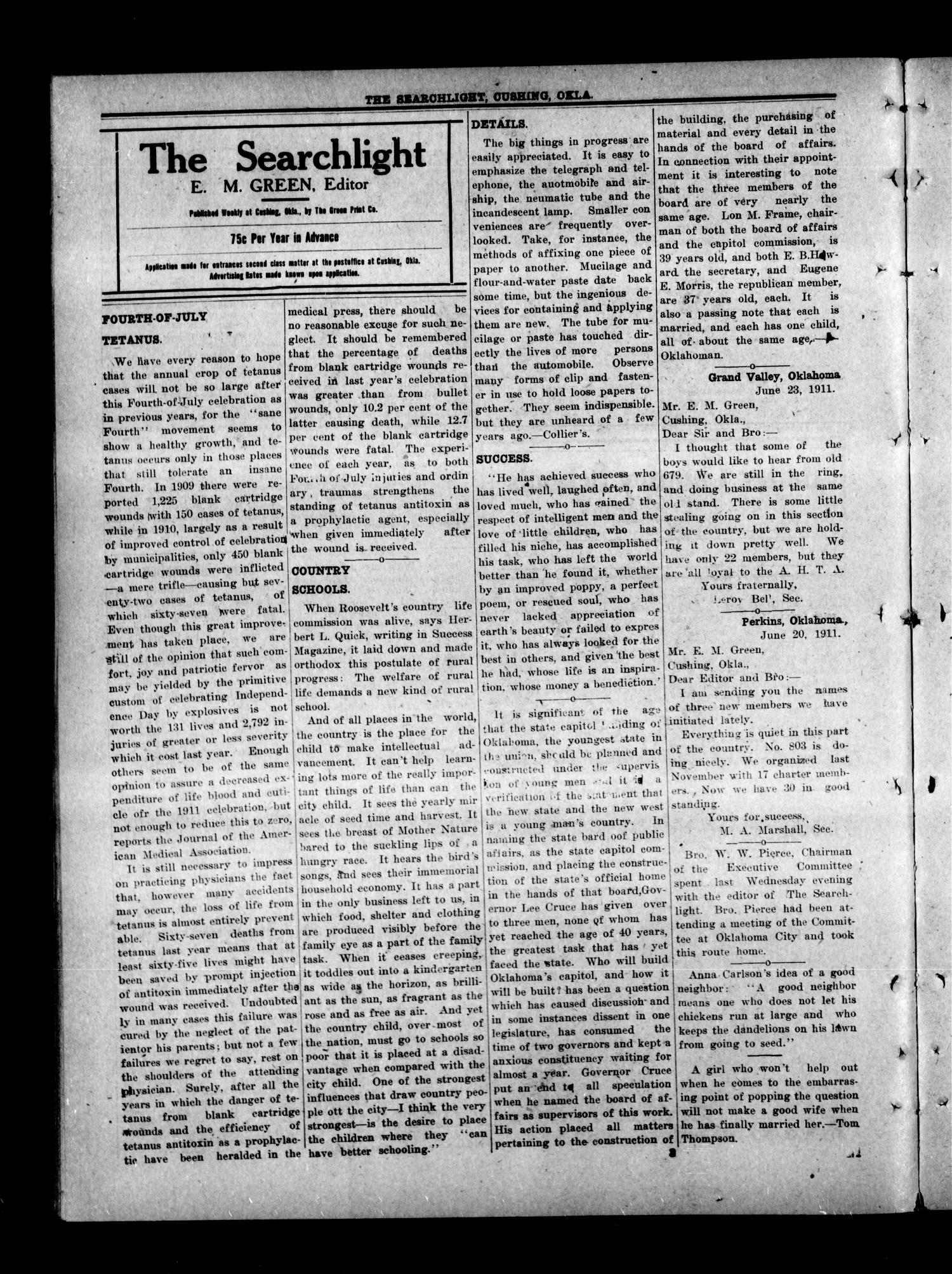 The Searchlight (Cushing, Okla.), Vol. 2, No. 23, Ed. 1 Wednesday, June 28, 1911                                                                                                      [Sequence #]: 4 of 8