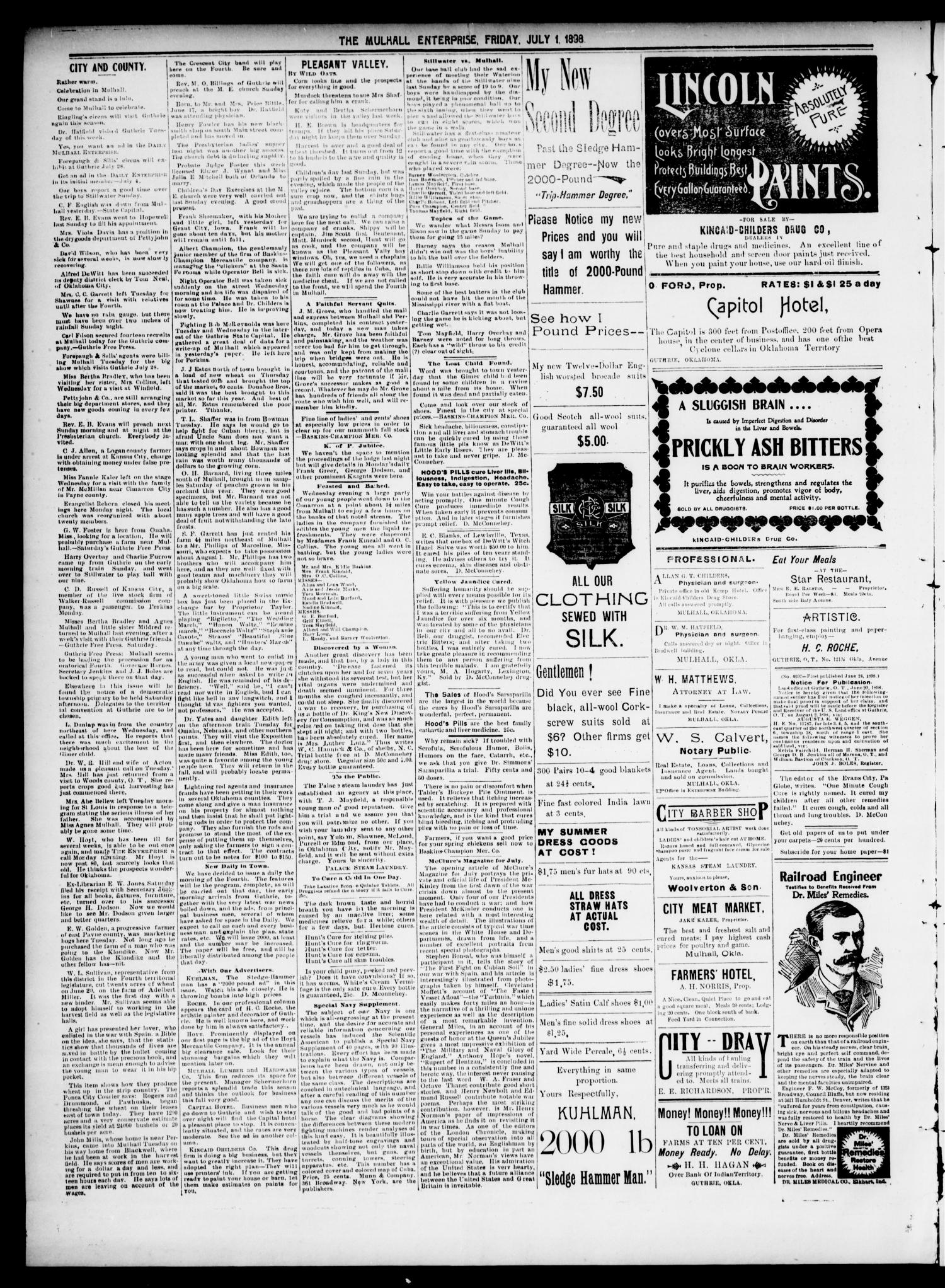 Mulhall Enterprise. (Mulhall, Okla.), Vol. 5, No. 26, Ed. 1 Friday, July 1, 1898                                                                                                      [Sequence #]: 4 of 4