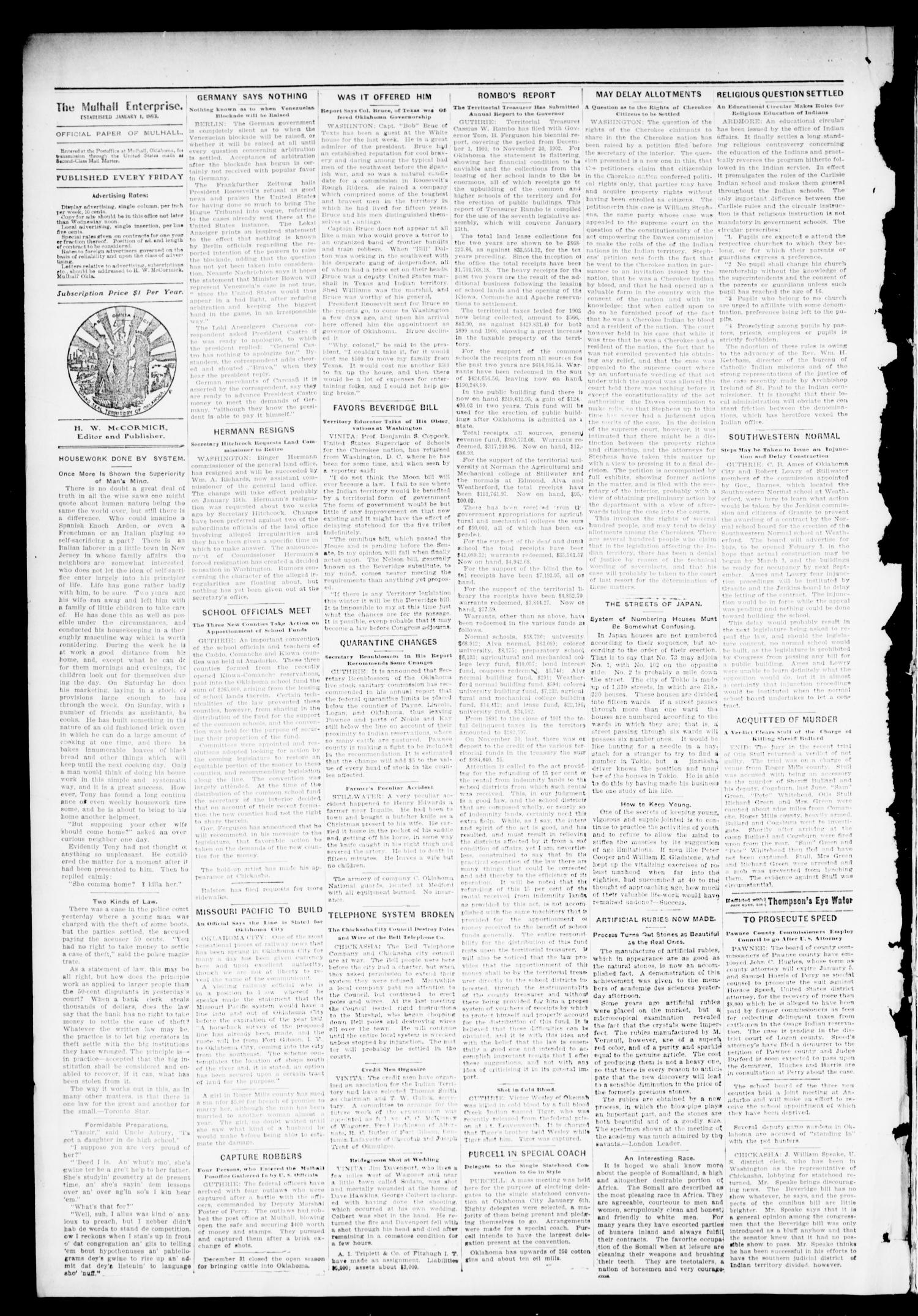 Mulhall Enterprise. (Mulhall, Okla.), Vol. 11, No. 1, Ed. 1 Friday, January 2, 1903                                                                                                      [Sequence #]: 2 of 8