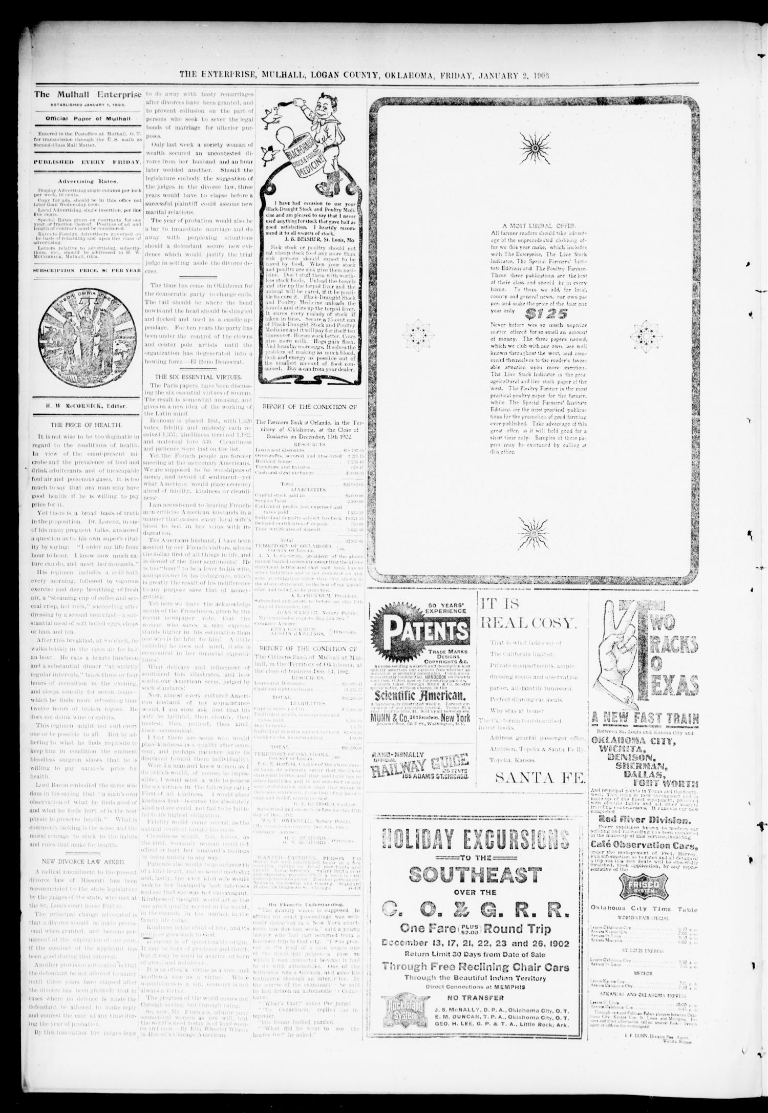 Mulhall Enterprise. (Mulhall, Okla.), Vol. 11, No. 1, Ed. 1 Friday, January 2, 1903                                                                                                      [Sequence #]: 4 of 8