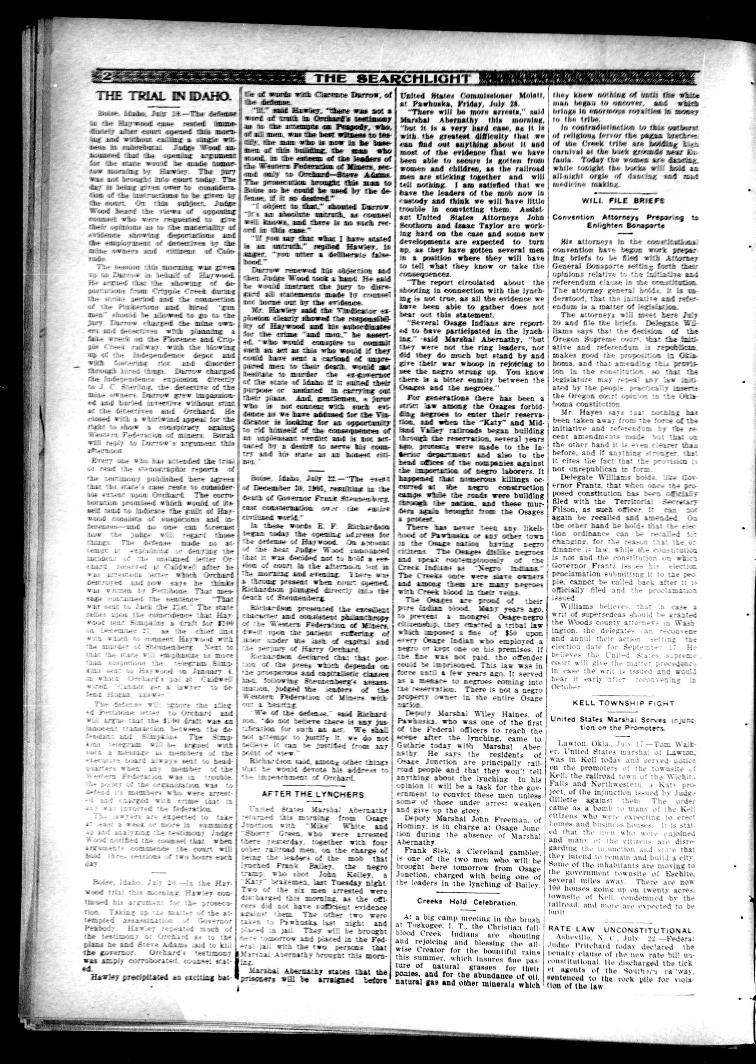 The Searchlight (Guthrie, Okla.), No. 483, Ed. 1 Friday, July 26, 1907                                                                                                      [Sequence #]: 2 of 16