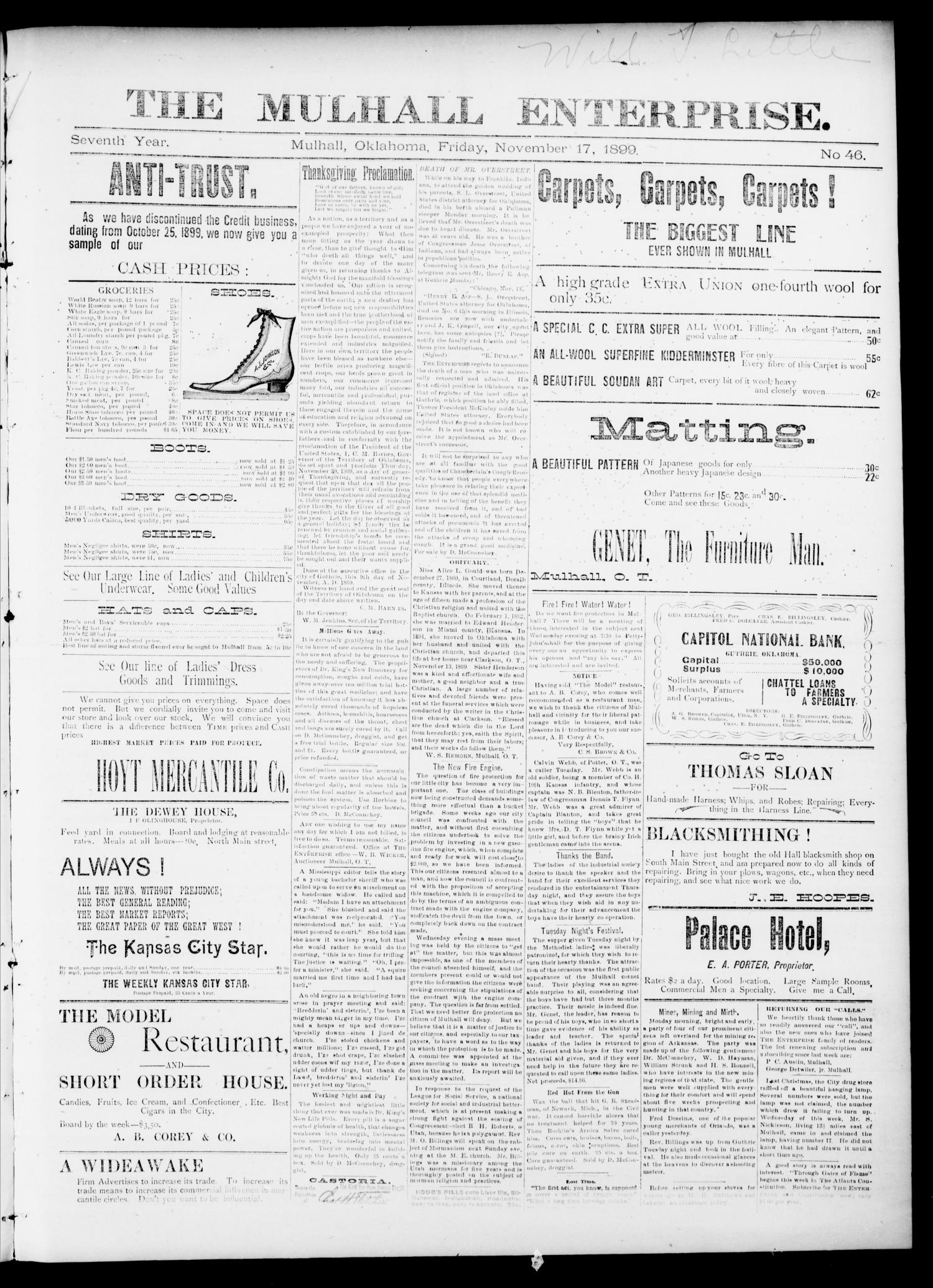 The Mulhall Enterprise. (Mulhall, Okla.), Vol. 7, No. 46, Ed. 1 Friday, November 17, 1899                                                                                                      [Sequence #]: 1 of 4
