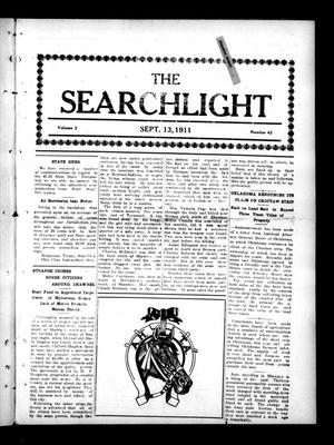 Primary view of object titled 'The Searchlight (Cushing, Okla.), Vol. 2, No. 43, Ed. 1 Wednesday, September 13, 1911'.