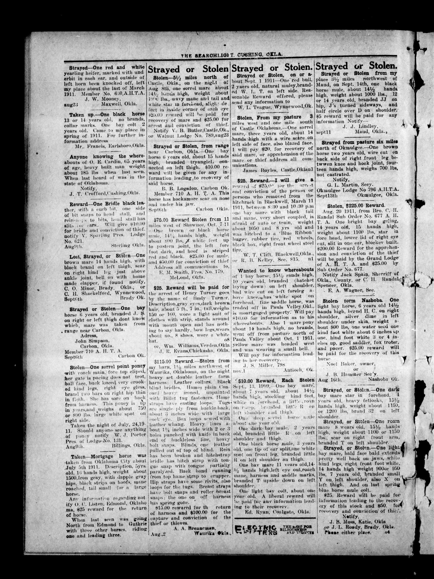 The Searchlight (Cushing, Okla.), Vol. 2, No. 52, Ed. 1 Wednesday, November 15, 1911                                                                                                      [Sequence #]: 2 of 8