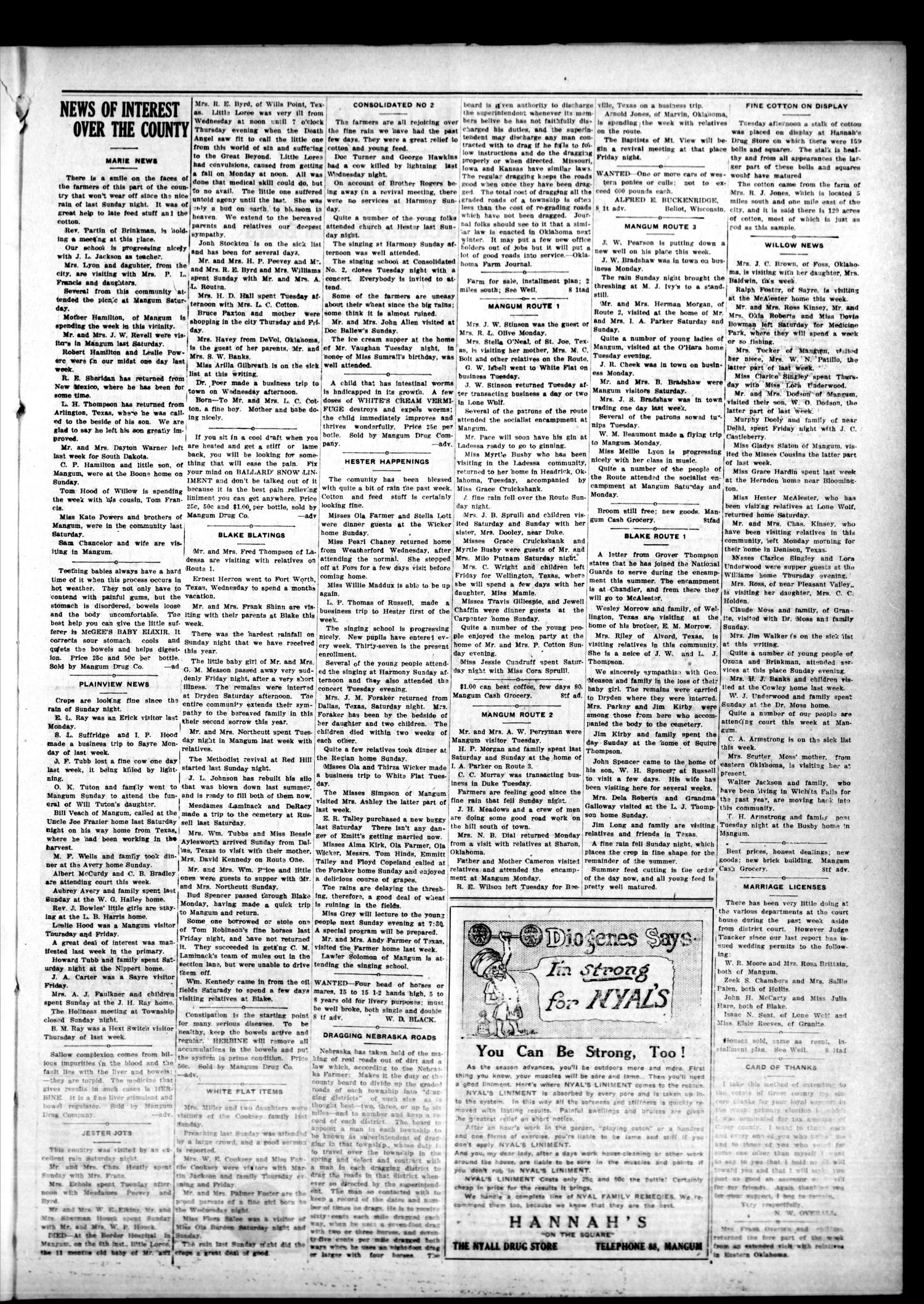 Mangum Weekly Star. (Mangum, Okla.), Vol. 27, No. 8, Ed. 1 Thursday, August 13, 1914                                                                                                      [Sequence #]: 3 of 8