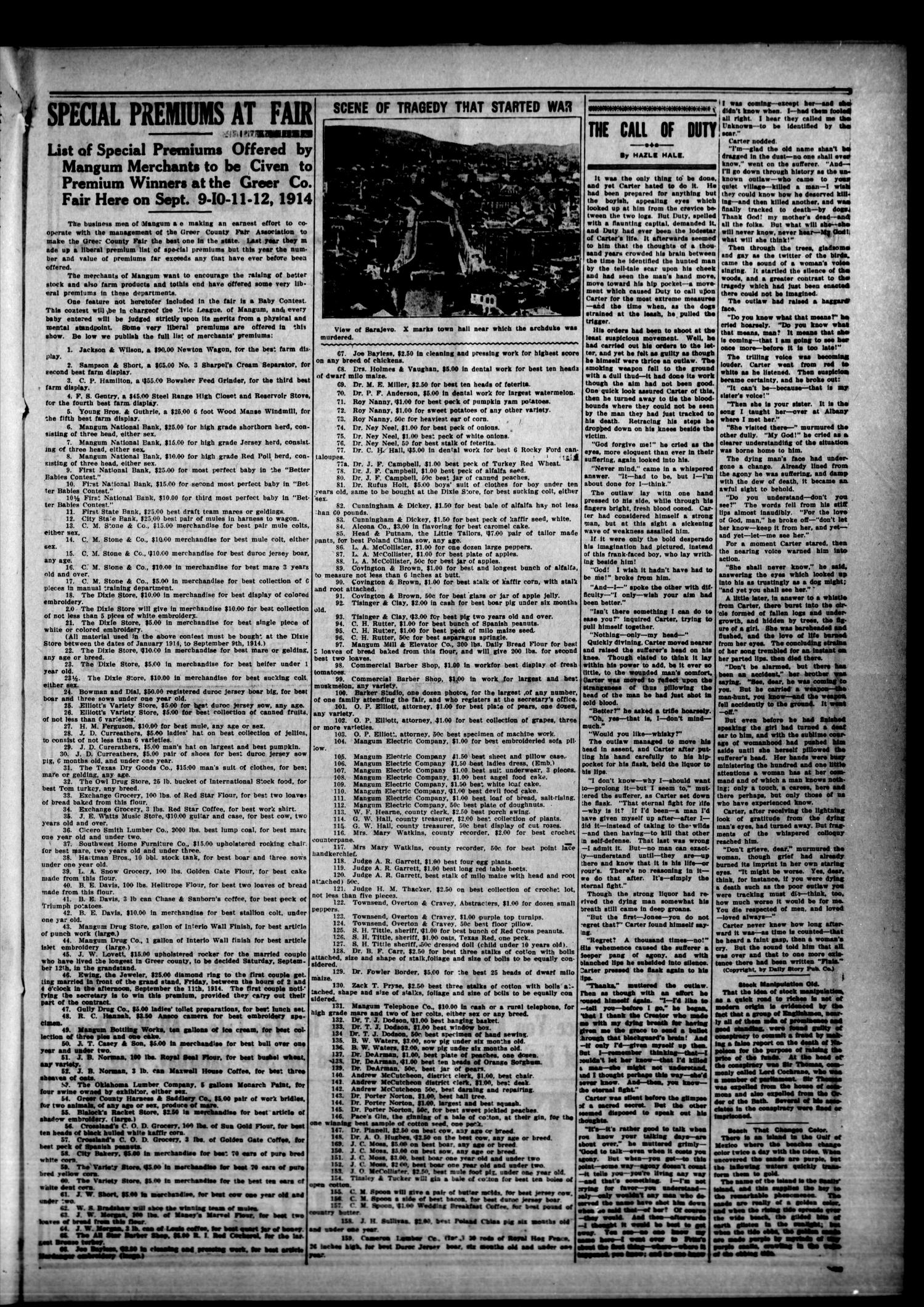 Mangum Weekly Star. (Mangum, Okla.), Vol. 27, No. 8, Ed. 1 Thursday, August 13, 1914                                                                                                      [Sequence #]: 7 of 8