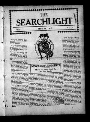 Primary view of object titled 'The Searchlight (Cushing, Okla.), Vol. 1, No. 42, Ed. 1 Wednesday, September 14, 1910'.