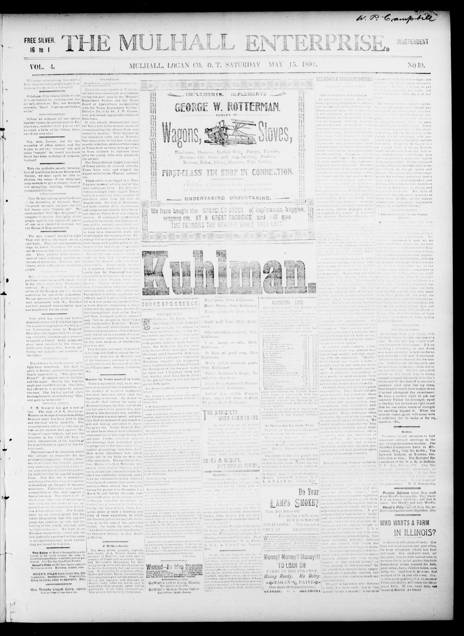 The Mulhall Enterprise. (Mulhall, Okla. Terr.), Vol. 4, No. 19, Ed. 1 Saturday, May 15, 1897                                                                                                      [Sequence #]: 1 of 4
