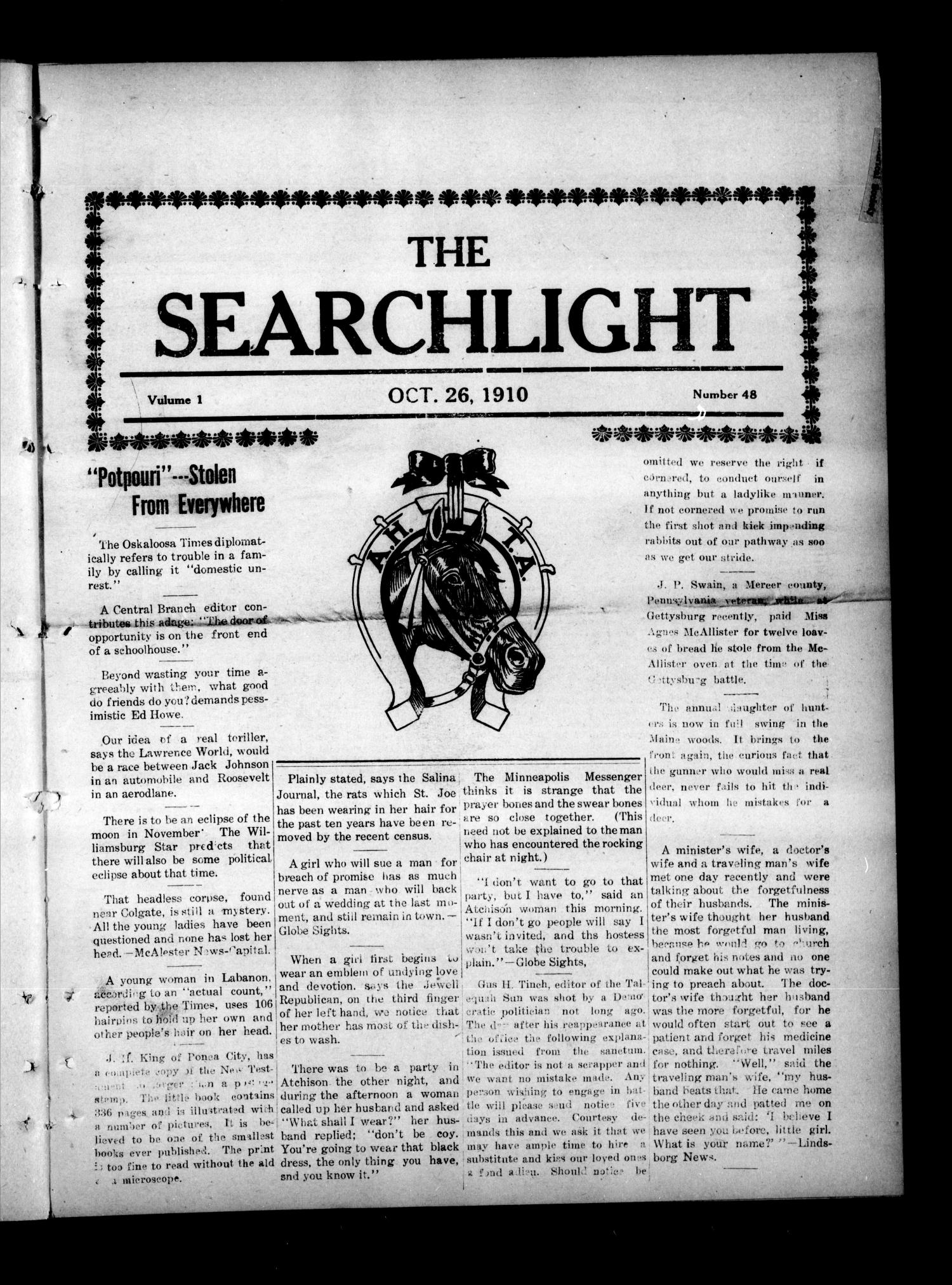 The Searchlight (Cushing, Okla.), Vol. 1, No. 48, Ed. 1 Wednesday, October 26, 1910                                                                                                      [Sequence #]: 1 of 8