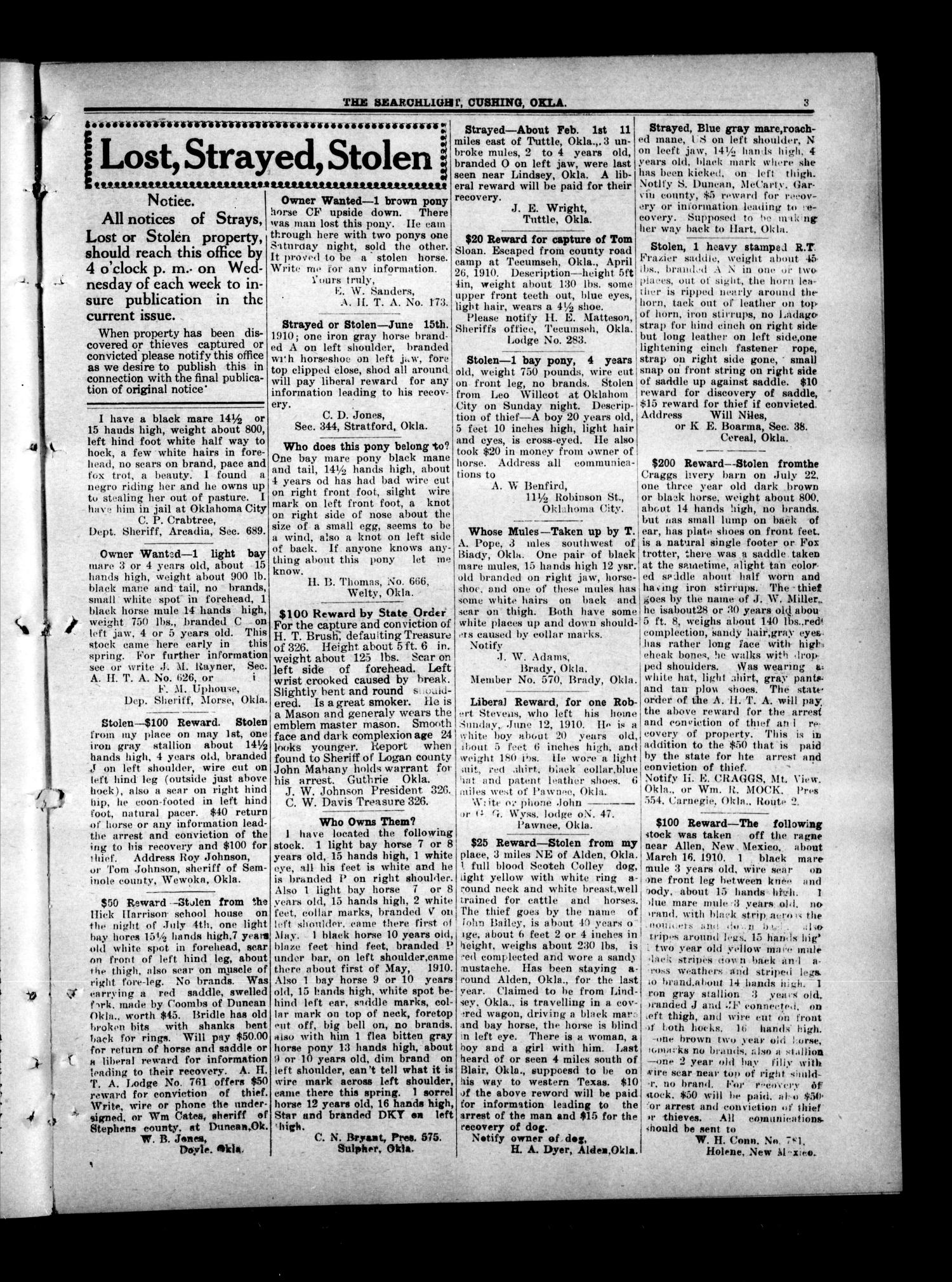The Searchlight (Cushing, Okla.), Vol. 1, No. 48, Ed. 1 Wednesday, October 26, 1910                                                                                                      [Sequence #]: 3 of 8