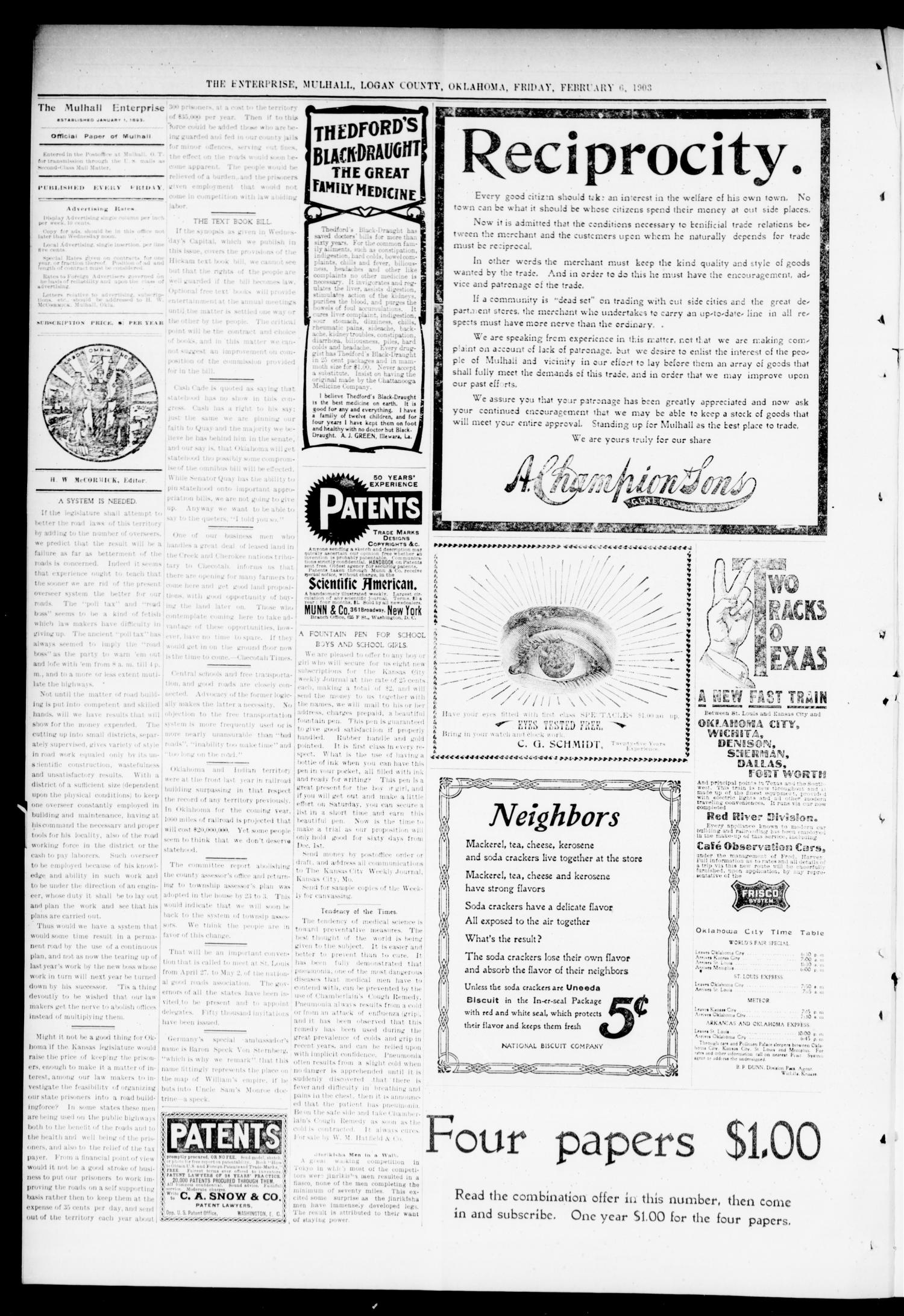 Mulhall Enterprise. (Mulhall, Okla.), Vol. 11, No. 6, Ed. 1 Friday, February 6, 1903                                                                                                      [Sequence #]: 4 of 8