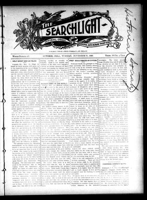 Primary view of object titled 'The Searchlight (Guthrie, Okla.), No. 441, Ed. 1 Tuesday, November 20, 1906'.