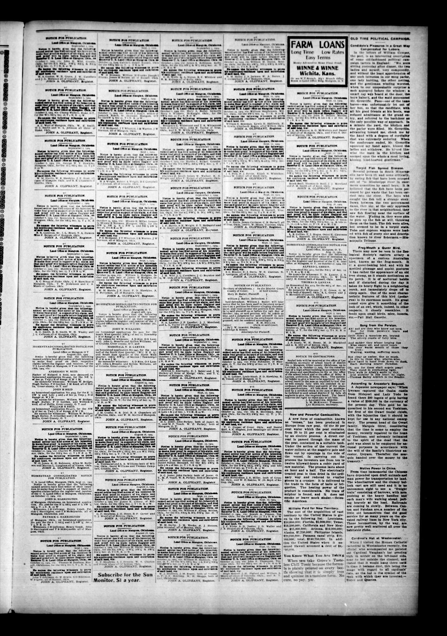 Mangum Sun Monitor Okla Vol 14 No 40 Ed 1 Thursday September 29 1904 Page 7 Of 8 The Gateway To Oklahoma History