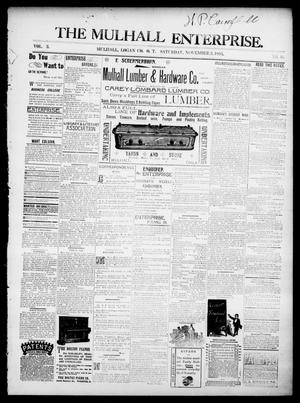 Primary view of object titled 'The Mulhall Enterprise. (Mulhall, Okla. Terr.), Vol. 2, No. 46, Ed. 1 Saturday, November 2, 1895'.