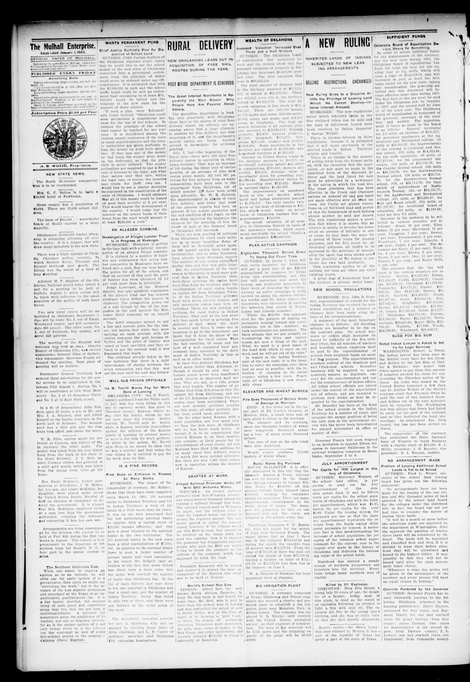 Mulhall Enterprise (Mulhall, Okla.), Vol. 14, No. 29, Ed. 1 Friday, July 20, 1906                                                                                                      [Sequence #]: 2 of 8