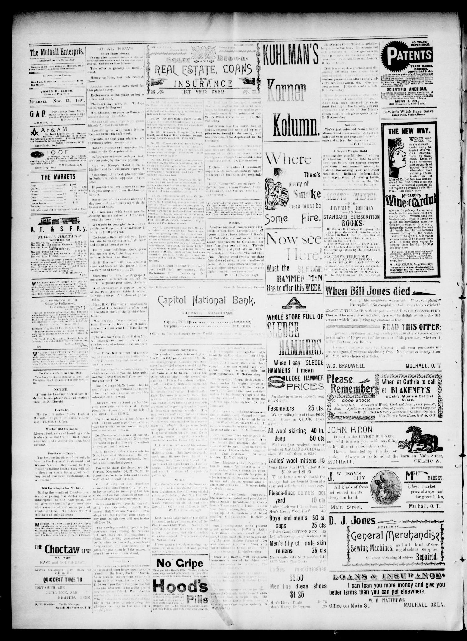 The Mulhall Enterprise. (Mulhall, Okla. Terr.), Vol. 4, No. 45, Ed. 1 Saturday, November 13, 1897                                                                                                      [Sequence #]: 4 of 4