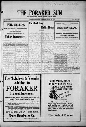 Primary view of object titled 'The Foraker Sun (Foraker, Okla.), Vol. 5, No. 51, Ed. 1 Thursday, April 13, 1911'.