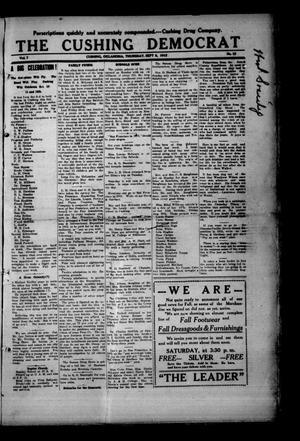 Primary view of The Cushing Democrat (Cushing, Okla.), Vol. 7, Ed. 1 Thursday, September 5, 1912