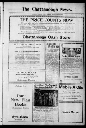 Primary view of object titled 'The Chattanooga News. (Chattanooga, Okla.), Vol. 16, No. 32, Ed. 1 Thursday, October 6, 1921'.