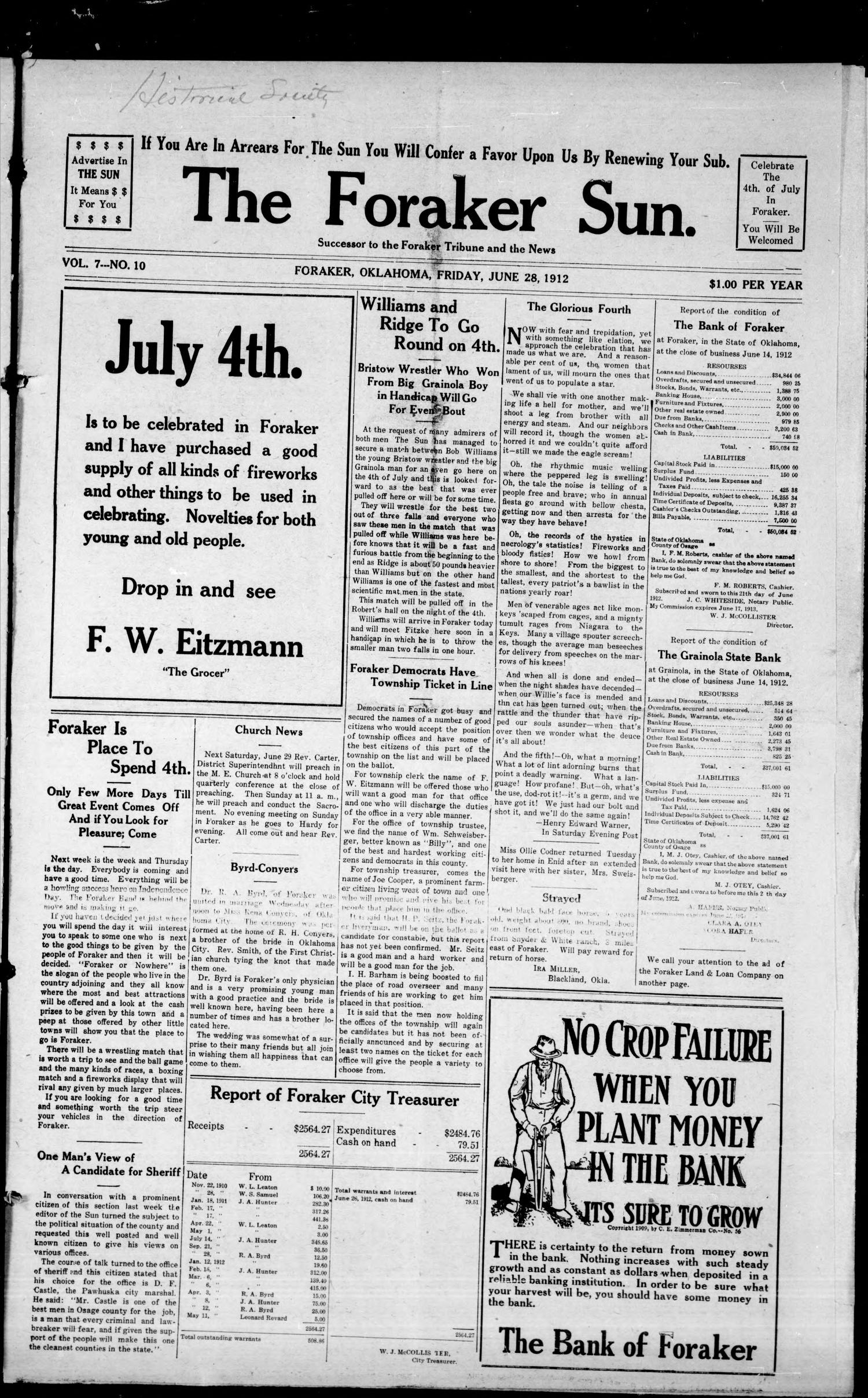 The Foraker Sun. (Foraker, Okla.), Vol. 7, No. 10, Ed. 1 Friday, June 28, 1912                                                                                                      [Sequence #]: 1 of 8
