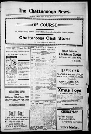 Primary view of object titled 'The Chattanooga News. (Chattanooga, Okla.), Vol. 17, No. 43, Ed. 1 Thursday, December 21, 1922'.