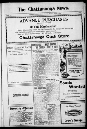 Primary view of object titled 'The Chattanooga News. (Chattanooga, Okla.), Vol. 18, No. 25, Ed. 1 Thursday, August 16, 1923'.