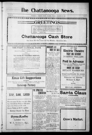 Primary view of object titled 'The Chattanooga News. (Chattanooga, Okla.), Vol. 16, No. 43, Ed. 1 Thursday, December 22, 1921'.