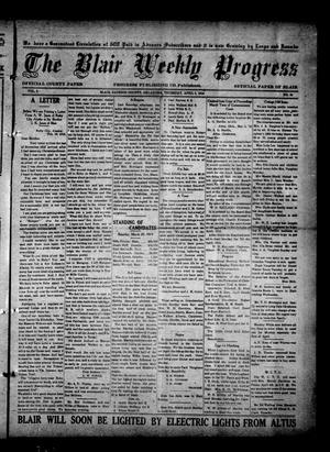 Primary view of object titled 'The Blair Weekly Progress (Blair, Okla.), Vol. 9, No. 44, Ed. 1 Thursday, April 3, 1913'.