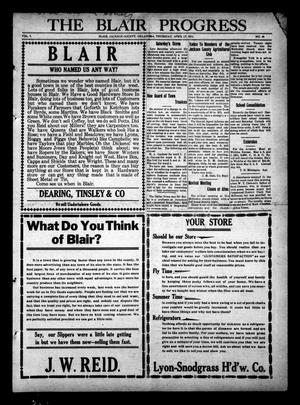 Primary view of object titled 'The Blair Progress (Blair, Okla.), Vol. 7, No. 48, Ed. 1 Thursday, April 27, 1911'.