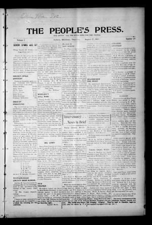 Primary view of object titled 'The People's Press. (Perkins, Okla.), Vol. 1, No. 27, Ed. 1 Thursday, August 17, 1905'.