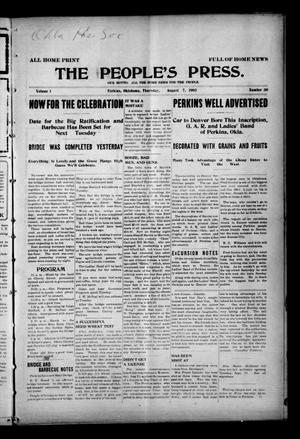 Primary view of object titled 'The People's Press. (Perkins, Okla.), Vol. 1, No. 30, Ed. 1 Thursday, September 7, 1905'.