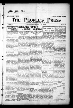 Primary view of object titled 'The People's Press (Perkins, Okla.), Vol. 2, No. 22, Ed. 1 Thursday, July 12, 1906'.