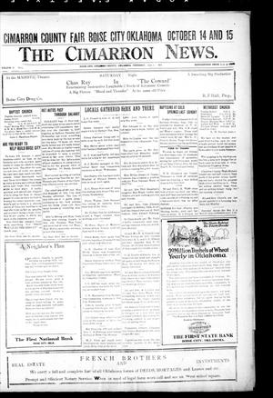 Primary view of object titled 'The Cimarron News. (Boise City, Okla.), Vol. 24, No. 5, Ed. 1 Thursday, September 1, 1921'.