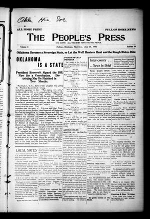Primary view of object titled 'The People's Press (Perkins, Okla.), Vol. 2, No. 19, Ed. 1 Thursday, June 21, 1906'.