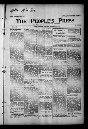 Primary view of object titled 'The People's Press (Perkins, Okla.), Vol. 2, No. 32, Ed. 1 Thursday, September 20, 1906'.