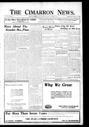 Primary view of object titled 'The Cimarron News. (Boise City, Okla.), Vol. 23, No. 5, Ed. 1 Thursday, September 2, 1920'.