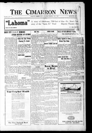 Primary view of object titled 'The Cimarron News. (Boise City, Okla.), Vol. 23, No. 40, Ed. 1 Thursday, May 5, 1921'.