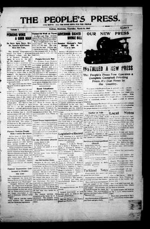 Primary view of object titled 'The People's Press. (Perkins, Okla.), Vol. 1, No. 5, Ed. 1 Thursday, March 16, 1905'.