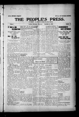 Primary view of object titled 'The People's Press. (Perkins, Okla.), Vol. 1, No. 31, Ed. 1 Thursday, September 14, 1905'.