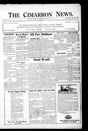Primary view of object titled 'The Cimarron News. (Boise City, Okla.), Vol. 23, No. 43, Ed. 1 Thursday, May 26, 1921'.