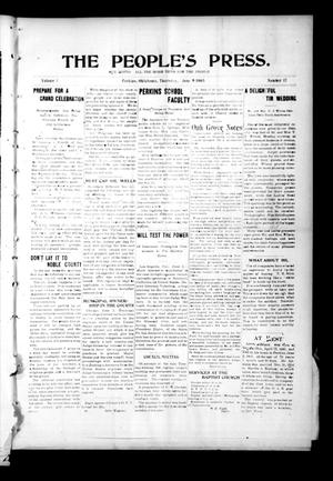 Primary view of object titled 'The People's Press. (Perkins, Okla.), Vol. 1, No. 17, Ed. 1 Thursday, June 8, 1905'.
