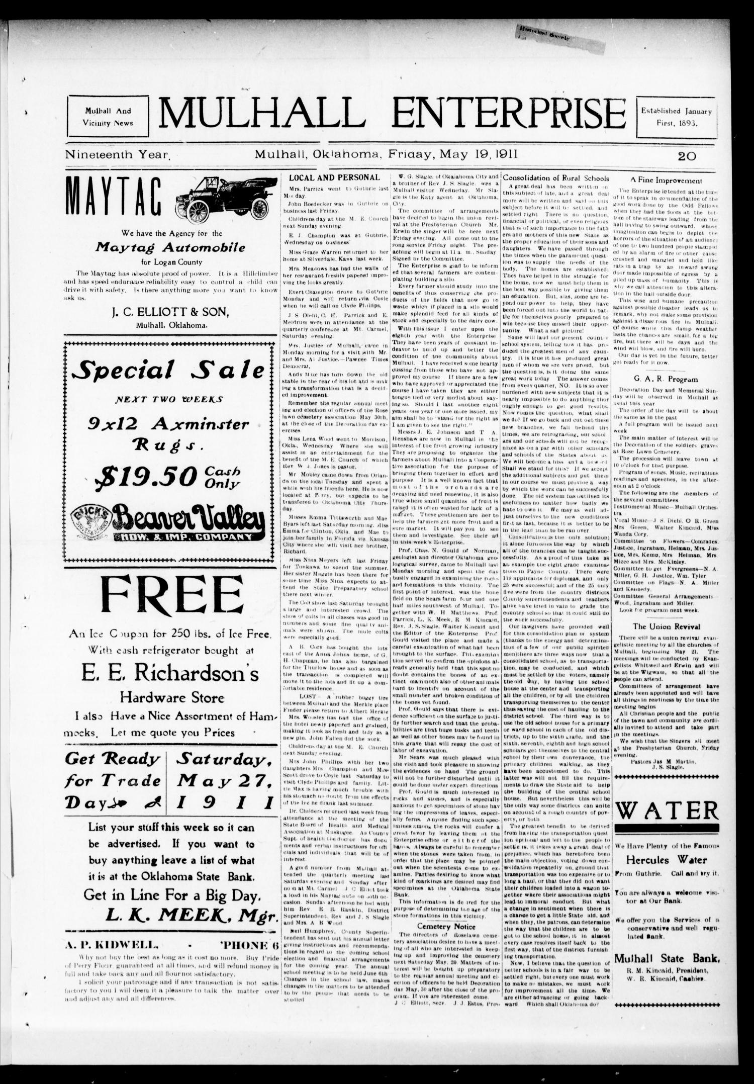 Mulhall Enterprise (Mulhall, Okla.), Vol. 19, No. 20, Ed. 1 Friday, May 19, 1911                                                                                                      [Sequence #]: 1 of 6