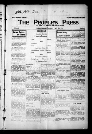 Primary view of object titled 'The People's Press (Perkins, Okla.), Vol. 2, No. 11, Ed. 1 Thursday, April 26, 1906'.