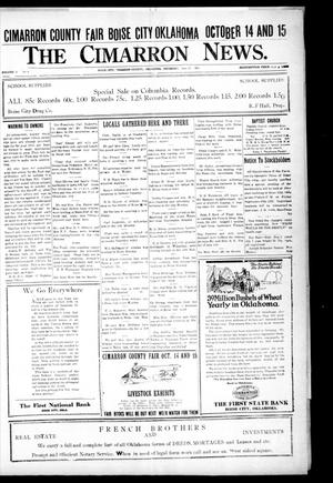 Primary view of object titled 'The Cimarron News. (Boise City, Okla.), Vol. 24, No. 8, Ed. 1 Thursday, September 22, 1921'.