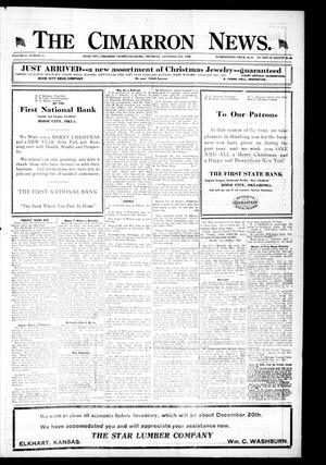 Primary view of object titled 'The Cimarron News. (Boise City, Okla.), Vol. 21, No. 21, Ed. 1 Thursday, December 25, 1919'.