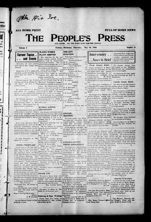 Primary view of object titled 'The People's Press (Perkins, Okla.), Vol. 2, No. 13, Ed. 1 Thursday, May 10, 1906'.