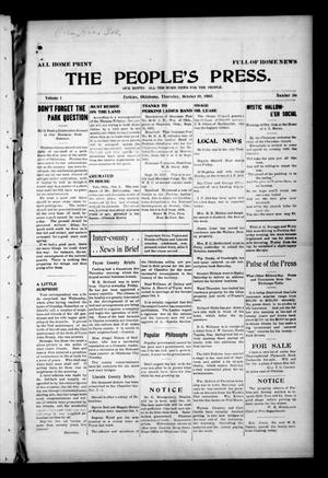 Primary view of object titled 'The People's Press. (Perkins, Okla.), Vol. 1, No. 36, Ed. 1 Thursday, October 19, 1905'.